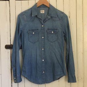 GAP Cotton Denim Snap-Up Western Shirt